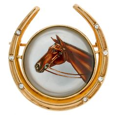 Edwardian Fine Essex Crystal  Diamond Gold Horseshoe Pin   1stdibs.com