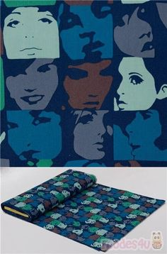 """pop art portraits checker fabric with women and men's blue, green, brown, light mint and violet-grey faces on black cotton, Material: 100% cotton, Fabric Width: 112cm (44"""") #Cotton #People #USAFabrics Pop Art Portraits, Alexander Henry, Retro Fabric, Fabric Patterns, Black Cotton, Camouflage, Blue Green, Cotton Fabric"""