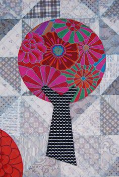 Lily's Quilts: Windmills and Trees Cot Quilt, close up, Kaffe Fassett fabric