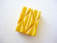 Lovely and Larger Vintage Carved Bakelite Two Hole by BecaliJewels (Craft Supplies & Tools, Jewelry & Beading Supplies, Beads, Rectangle Beads, vintage, supplies, beads, bead, Bakelite, carved, jewelry component, test positive, yellow, rectangle, 25mm, double holed, slider bead)