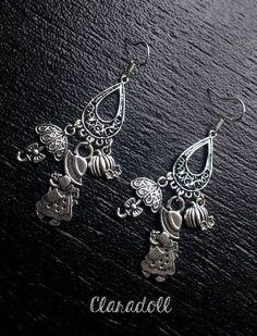 """Boucles d'oreilles crochets argent 925 """"La Fillette Potiron"""""""