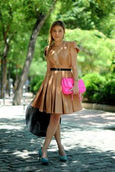 Neutral dress with colorful bag and heels.