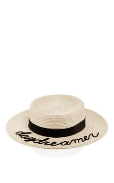 Cool innovation stands at the heart of this Parsons grad's luxury accessories label. This **Eugenia KIm** boat hat features the word 'daydreamer' in script across the brim for a playful take on the classic.