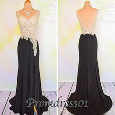Cute beaded backless black chiffon prom dress with slit, ball gown, prom dresses long #coniefox #2016prom