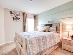 Giddy up! This bedroom captures the equestrian fan with fun wall art and #rustic woods. Click to see more of this beautiful model home. #DreamHome Oleander II by Highland Homes Creative Kids Rooms, Cool Wall Art, Highland Homes, Bedroom Pictures, New House Plans, Florida Home, Model Homes, Home Builders, Kids Bedroom