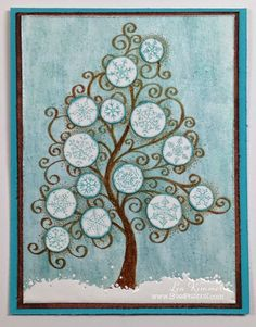 (th)INK Positive: Art Anthology Hop  - Stampendous Snowflake Tree and Chunky White Embossing Enamel with Art Anthology Paints