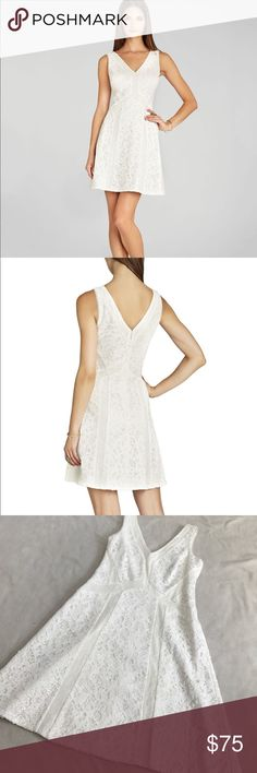 """BCBGMaxAzria Gracie Off White Sequin V Neck Dress 34.5"""" length 16.5"""" armpit to armpit. Gracie off white style dress. Double v Neck. Zips up the back middle. Is covered with Sequin and Lace contrast. Excellent condition. Bundle 2+ items for a discount BCBGMaxAzria Dresses Midi"""