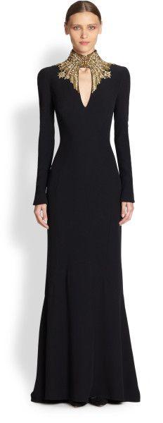 Alexander Mcqueen Crepe Jewelneck Gown in Black