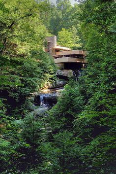 Frank Lloyd Wright's most famous home, Falling Water in Mill Run, Pennsylvania World Map App, Organic Architecture, Frank Lloyd Wright, Cozy House, Waterfall, House Design, House Styles, Nature, Travel