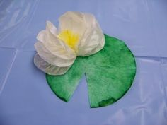 Coffee Filter Lily Pad  would be so cute for a wall of claude monet's water lilies