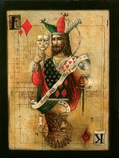 """Jake Baddeley                                             """"The Fool / The King"""".                                            Oil on canvas, 2006."""