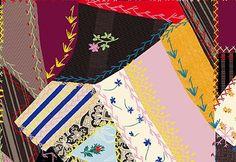Quilt Gate Tick Tack Piecework in red black yellow by kimonomomo