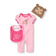 MONKEY COVERALL 3-PIECE SET - Hat, Bib & Coveralls. Sizes; 0-3, 3-6, 6-9, 9-12, 12-18 Months. Regular Price $19.95, Sale $11.97