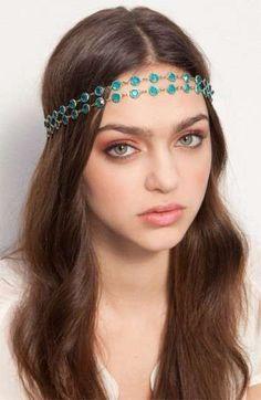 Cintas para el pelo: fotos ideas DIY - Original cinta con piedras verdes