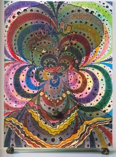 """She by Chris Ofili, 1997. She is very typical of Ofili's style. Eight foot in height with a vibrant colour scheme, She also contains a controversial material placed in balls at the base of the painting and hanging around the woman's neck … elephant dung. At the Telegraph Online there is a fantastic review of an Ofili exhibition..."""