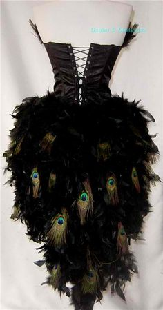 Corset with peacock feather boa