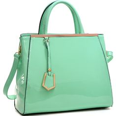 Dasein Patent Faux Leather Tote with Gold-Tone Accent (€27) ❤ liked on Polyvore featuring bags, handbags, tote bags, purses, patent leather purse, green tote bag, faux leather tote, vegan purses und vegan handbags