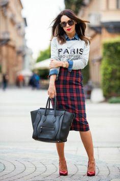 classic plaid style, elegant midi plaid pencil skirt