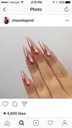 Rose gold stiletto chrome