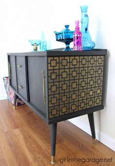 Midcentury Makeover with a Funky Surprise.  Annie Sloan Chalk Paint in Graphite.  girlinthegarage.net