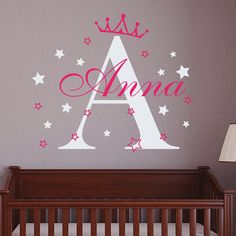 Monogram Name Decals Princess Crown Wall Decal Girls by DecalHouse