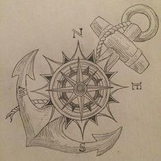 Ideas For Tattoo Compass Anchor Tatoo Marine Tattoos, Navy Tattoos, Trendy Tattoos, Nautical Tattoos, Tattoo Black, Anchor Compass Tattoo, Compass Tattoo Design, Anchor Tattoos, Compass Drawing