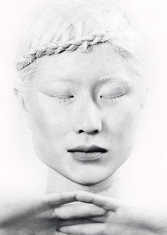 Japanese model with albinism. Albino Model, Melanism, The White Album, Albinism, White Books, Black And White Portraits, Japanese Models, Shades Of White, White Hair