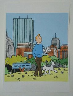 Tintin and Milou (Snowy) in Boston Painting, Tintin Comic Painting, 8x11 Painting