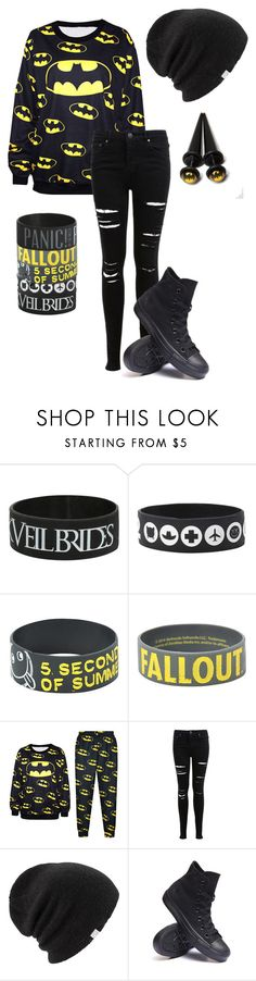 """""""Batmannnn"""" by bands-are-my-savior ❤ liked on Polyvore featuring Miss Selfridge, Coal and Converse"""
