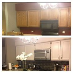 Hide soffit above kitchen cabinets by adding crown molding
