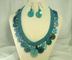Vintage Turquoise Crochet Necklace and Earring Set | Flickr - Photo Sharing!