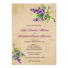 Vineyard Love Artistic Grapes Wedding Invitation