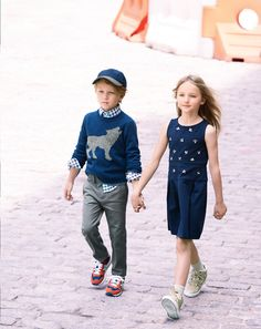 J.Crew boys sweater, secret wash shirt, bowery slim pant, baseball cap, New Balance for crewcuts sneakers, girls jeweled bee-mine dress, trouser socks, and glitter suede high top sneakers.