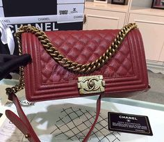 48bcd3a303bb Chanel Le boy Caviar Claret Red Bag buy now only for $480.00 instead of  $750.00