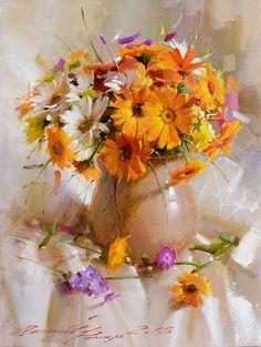 Painting «Not titled Oil Painting Flowers, Abstract Flowers, Painting & Drawing, Painting Still Life, Still Life Art, Art Watercolor, Watercolor Flowers, Flower Vases, Flower Art