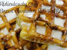 Ridiculously Easy Bacon Cinnamon Roll Waffles