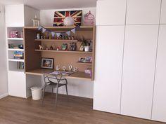 Un module dessiné par un architecte (et réalisé sur mesure par AMG) pour la chambre d'une petite fille avec placards et bureau intégré en médium prêt à peindre