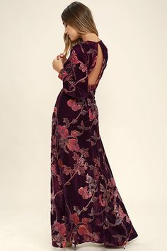 3906a30ba4d Practical Magic Burgundy Velvet Floral Print Maxi Dress
