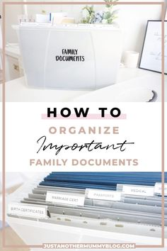 Looking to create your own filing system to organize documents at home? Click here to check out this step by step tutorial for how to organize important family documents! #organization #organizationtips #moms | justanothermummyblog.com Home File Organization, Office Organisation, Do It Yourself Organization, Genealogy Organization, Organizing Paperwork, Clutter Organization, Organizing Documents, Organizing Life, Office Storage