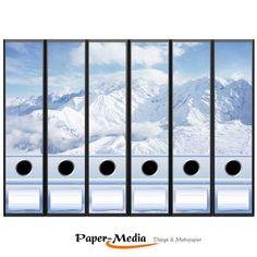 Paper-media lot de 6 étiquettes pour dos de classeur motif montagne enneigée-format :  65 x 300 mm compatible avec les classeurs a4 ayant un dos de 7,5 ou 8 cm de largeur