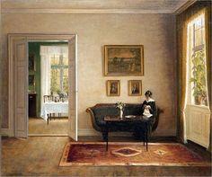 "laclefdescoeurs: ""Interior with a woman, Carl Vilhelm Holsøe "" Danish Interior, Art Society, European Paintings, Paintings I Love, Interior Lighting, Interior Paint, Oeuvre D'art, Painting Inspiration, Art History"