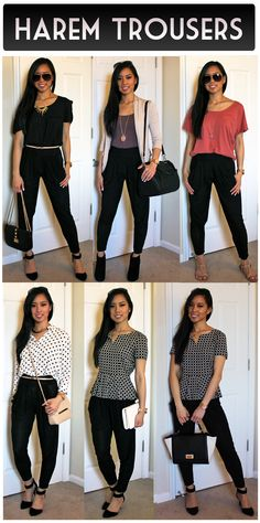 Outfit ideas for harem pants / woven joggers ( http://belinspired.blogspot.com/2014/04/how-to-style-harem-pants.html )