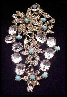 EISENBERG UNSIGNED FLORAL,TURQUOISE CRYSTAL 4-INCH DRESS AND FUR CLIP   eBay