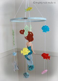 Magical Mermaid Felt Mobile by BrightlyHude on Etsy Disney Nursery, Baby Disney, Girl Nursery, Little Mermaid Nursery, Baby Mermaid, Felt Diy, Felt Crafts, Diy Crafts, Felt Mobile