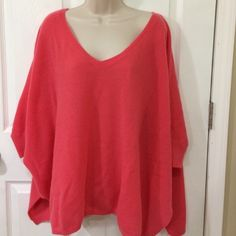 Minnie Rose Cashmere Sweater NWT! M/L Cashmere Batwing Sleeved Sweater with slits on sides. V-neck. Salmon colored. Minnie Rose Sweaters V-Necks