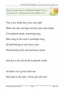 The Snail and the Whale – teaching ideas and activities pack