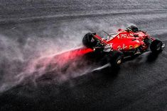 Ferrari in the Monza rain. The Scuderia wanted a win in front of their home crowd at the anniversary celebration at the 2017 Italian GP, but Vettel took third, and Raikkonen (pictured) fifth. Michael Schumacher, Ferrari F1, 70th Anniversary, Interesting History, Grand Prix, Picture Video, It's Raining, Crowd, Postcards