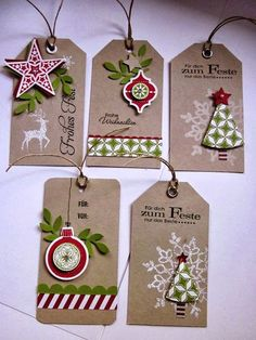 stampin with fanny: Project # Gift tags with DP style mix and DP ice … - Diy Christmas Gifts Christmas Gift Wrapping, Christmas Paper Crafts, Handmade Christmas, Christmas Projects, Diy Christmas, Homemade Gift Tags, Handmade Tags, Card Tags, Gift Cards