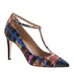 Everly cap toe printed T-strap pumps
