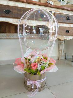 Diy Hot Air Balloons, Bubble Balloons, Balloon Flowers, Balloon Bouquet, Balloon Gift, Balloon Garland, Balloon Arrangements, Floral Arrangements, Diy Gift Wrap Box